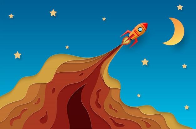 空の概念に飛ぶ紙ロケット