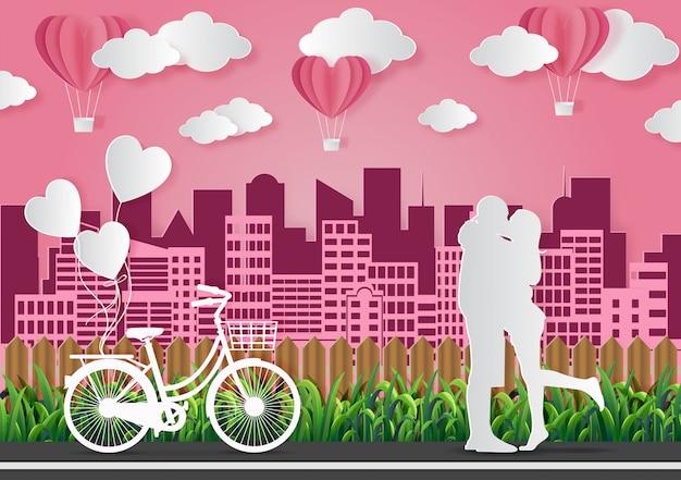 バレンタインデーの概念、男性と女性は愛を表現するために一緒に立ちます。ピンクの紙アートのベクターイラストです。