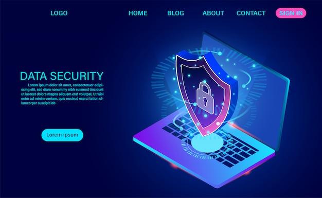 データセキュリティの最新のランディングページは、盗難データやハッカー攻撃からデータを保護します。等尺性フラットデザイン。ベクトル図