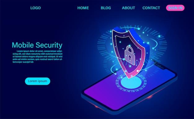 Целевая страница мобильной безопасности защищает телефон от кражи данных и атак. изометрические плоский дизайн. векторная иллюстрация