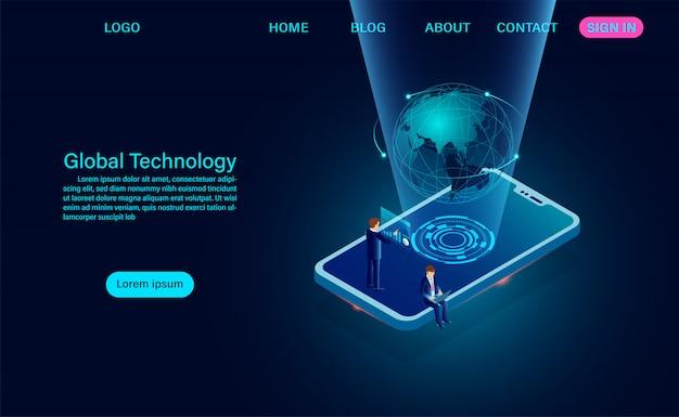 Телефон с глобальной сетью. интернет-соединение и глобальная концепция связи целевая страница