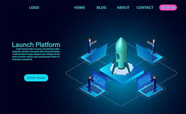 Запуск платформы и успешный проект запуска ракеты посадочной страницы роста