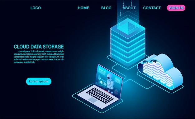 クラウドデータストレージとサーバールーム。クラウドを備えたサーバーラック。オンラインコンピューティングテクノロジー。等尺性の平らな設計図