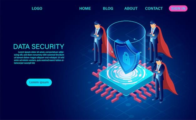 Концепция безопасности данных. защищает данные от кражи данных и хакерских атак. изометрические плоский дизайн. векторная иллюстрация