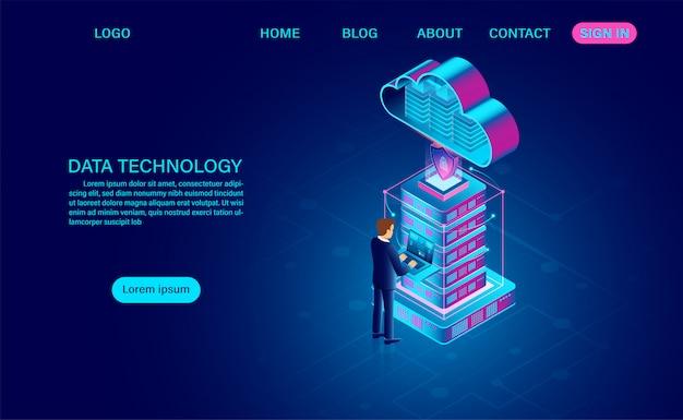 Технология данных и обработка больших данных защищают концепцию безопасности данных и облачные вычисления. цифровая информация. изометрическим. мультфильм
