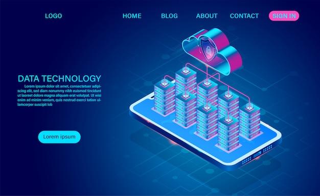 Технология данных и облачные вычисления на мобильной концепции. защищает данные от кражи данных и хакерских атак. изометрические плоский дизайн. векторная иллюстрация