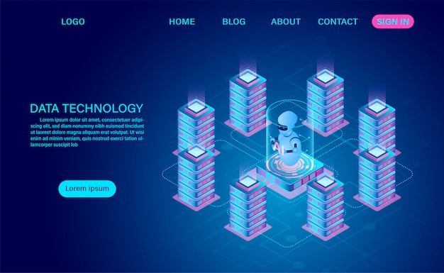 Технология данных и обработка больших данных защита концепции безопасности данных. цифровая информация. изометрическим. мультфильм