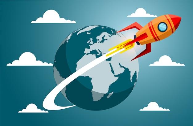Запуск космического челнока с земли. креативная идея
