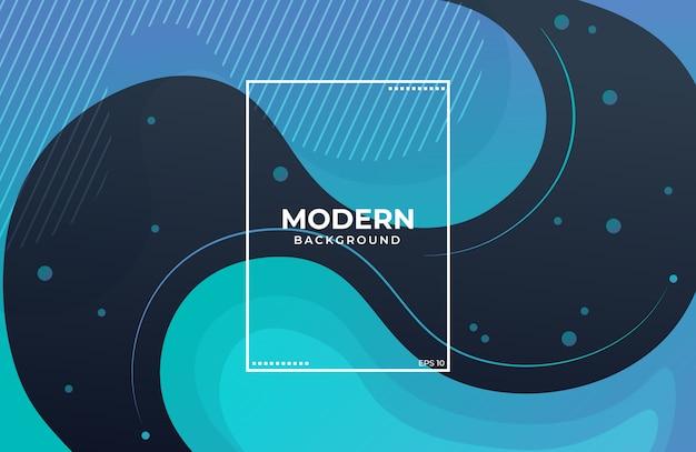 幾何学的な要素を持つ青と黒の抽象的な液体形状の背景