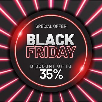 ネオンの光の効果を持つ黒い金曜日販売バナー