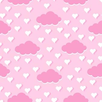 雲と愛のシームレスパターン