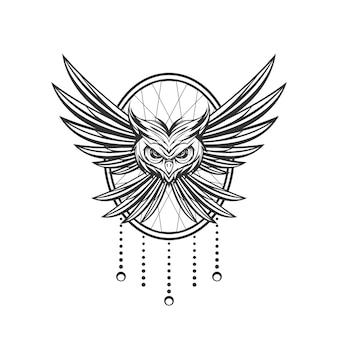装飾の背景とオウルのラインアートのデザイン
