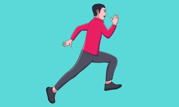 Счастливый бизнесмен бегать и прыгать