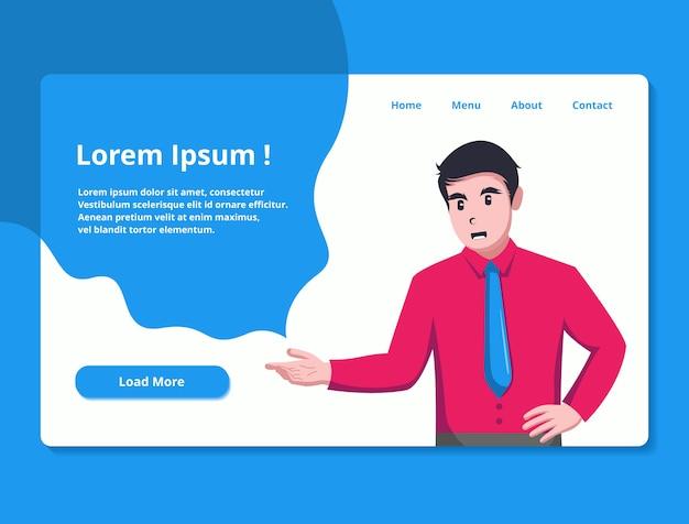 ビジネステーマのウェブサイトのランディングページの図