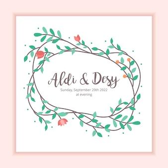 結婚式招待状の花のフレームの装飾の背景