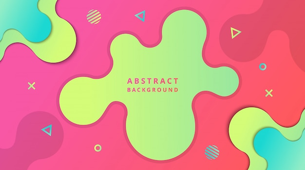 幾何学的図形の構成を持つ動的現代流体グラデーションの背景