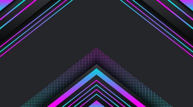 グラデーションネオンキラキラ幾何学的形状と黒の背景