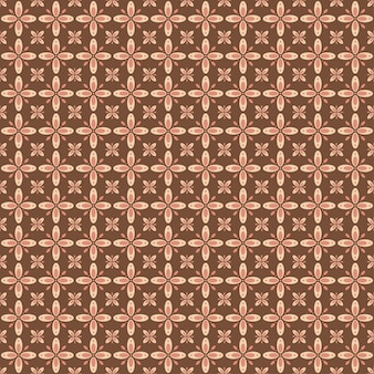 インドネシアのバティックのシームレスなパターン、さまざまなモチーフのジャワの伝統文化、茶色の色のバティックカウン、布全体に適用できます