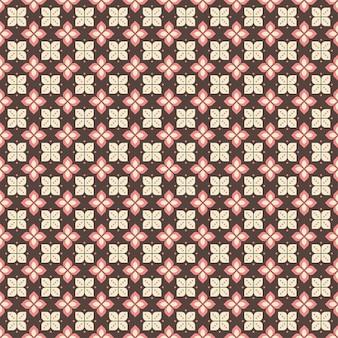 インドネシアのバティックシームレスパターン、さまざまなモチーフのジャワの伝統文化、ブラウンピンク色のバティックカウン、布全体に適用できます。