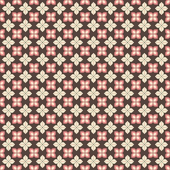 Бесшовный узор индонезийского батика с различными мотивами яванской традиционной культуры, батик кавунг коричнево-розового цвета, можно наносить на всю ткань
