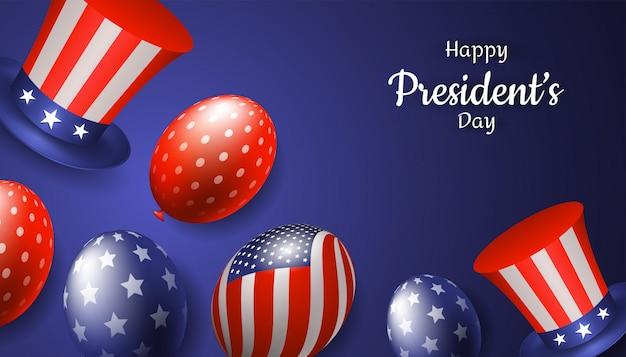 Счастливый президентский день с реалистичной шляпой дяди сэмом и воздушным шаром