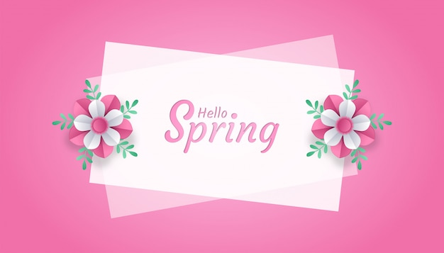 Привет весна с цветком и листом бумаги вырезать в стиле арт