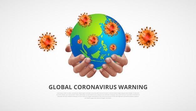 Коронавирусное предупреждение. реалистичная человеческая рука, держащая земной шар с коронавирусами