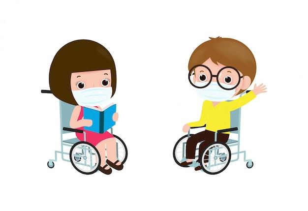 Снова в школу для новой концепции нормального образа жизни, счастливый инвалид мальчик и девочка в инвалидной коляске носить маску
