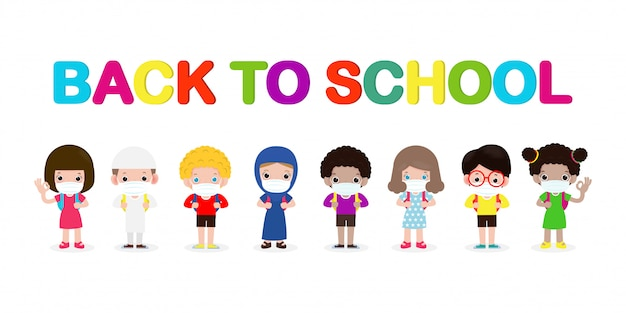 Снова в школу для новой концепции нормального образа жизни. счастливая группа детей, носящих маску и социальное дистанцирование, защищают от коронавируса