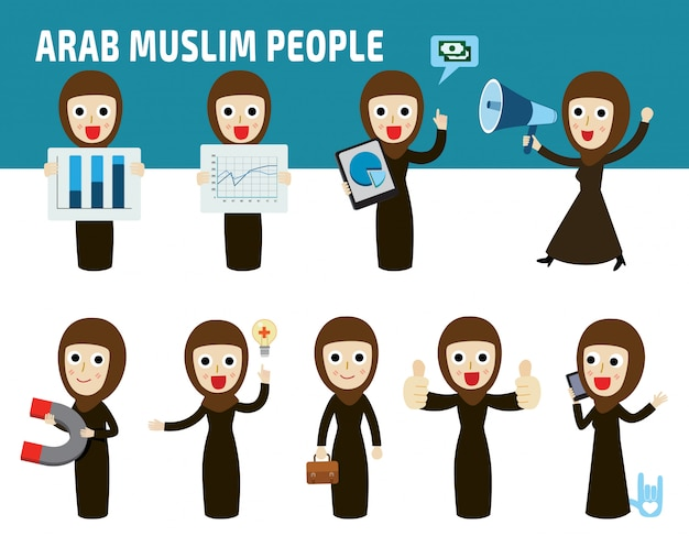 アラブのビジネス女性の国籍差ポーズを設定します。