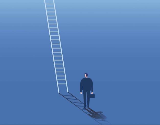 Бизнесмен и корпоративная лестница символ бизнес-концепция