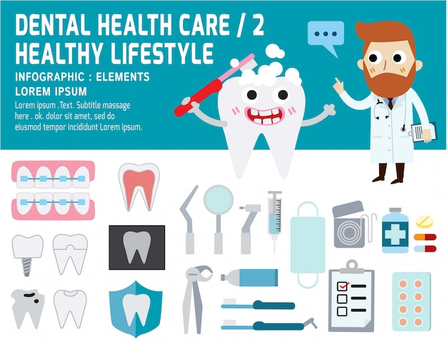 歯科問題ヘルスケア、健康要素のインフォグラフィック、歯科のコンセプト