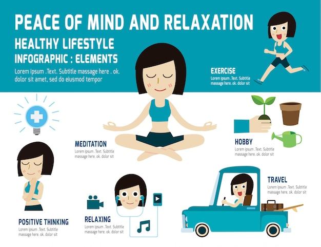 健康的なライフスタイルをリラックスさせる心の安らぎ。瞑想、健康を和らげる、インフォグラフィック要素、ヘルスケアの概念