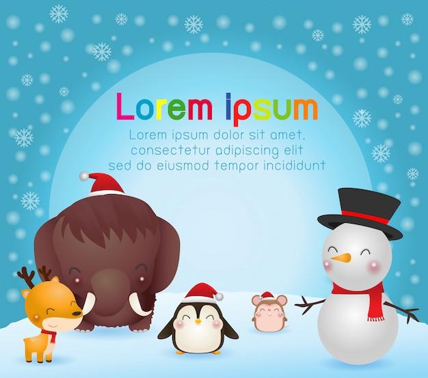 メリークリスマスと幸せな新年のグリーティングカード。クリスマスのかわいい動物キャラクター。マンモス、ペンギン、トナカイ、ラット、雪だるま、冬の風景。
