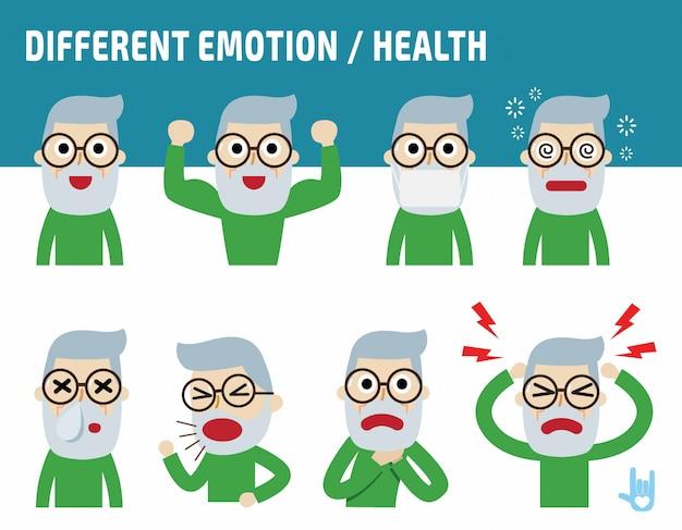 Старик сталкивается с различными эмоциями. плоский милый мультфильм дизайн.
