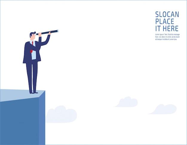 崖の上に立っている実業家。将来のビジネスビジョンに単眼を通して見る