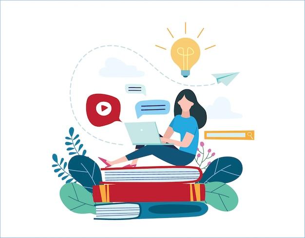 教育オンラインイラスト。インターネット勉強の概念。