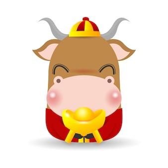 Маленький бык с китайским золотым слитком