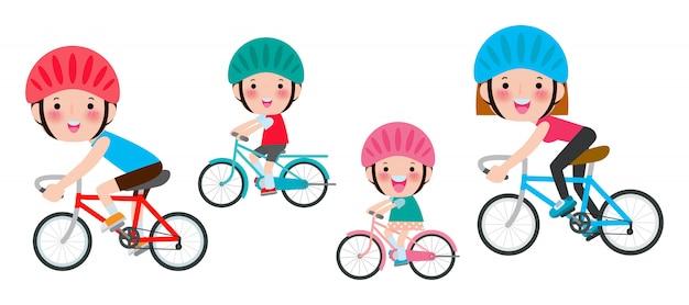 白で隔離されるバイクに乗って多様な家族のセット。幸せな家族の自転車に乗って、白で隔離されるスポーツ家族図