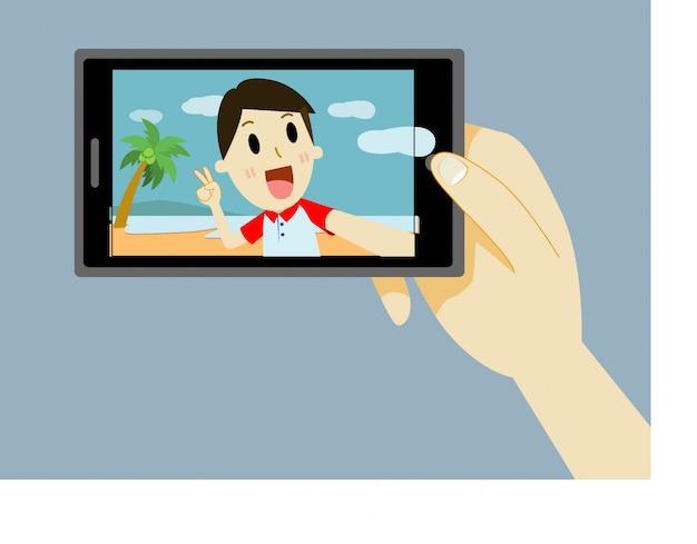 Человек мультфильм, принимая автопортрет с смартфона