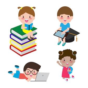 Набор школьников в концепции образования, обратно в школу шаблон с детьми