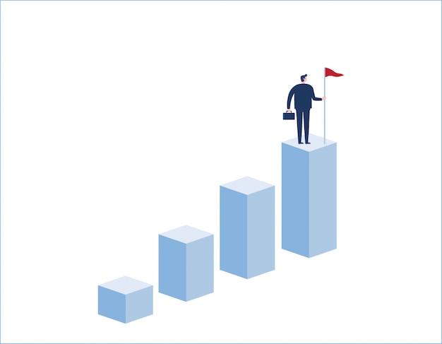 ビジネスマンの目標、成功、達成、そして挑戦