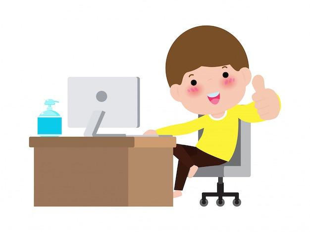 コロナウイルス検疫の概念。かわいい学生が自宅のラップトップに取り組んで、コンピューターで勉強する子供のためのオンライン学習、白い背景イラストを分離した感染拡大を防ぐ