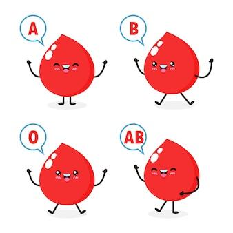 Счастливый милый здоровый характер капли крови, группа крови, набор симпатичных групп крови в различных действиях с отделением красных кровяных клеток, изолированных на белом фоне.