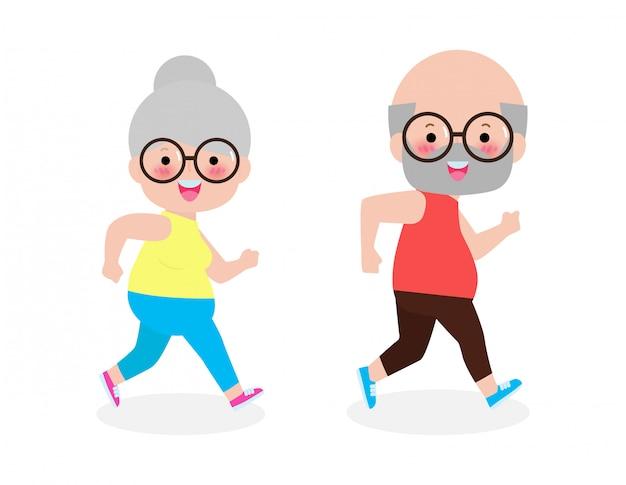 老婆、男を実行している漫画のベクトルイラスト。漫画のキャラクター。高齢者の活動。