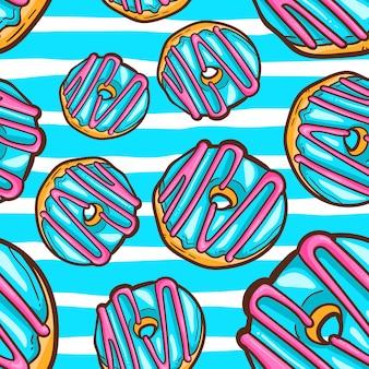ドーナツのシームレスなパターンのベクトル図