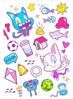 かわいい猫漫画ステッカーベクトルイラスト