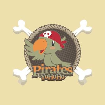 Симпатичные пираты мультфильм векторный фон