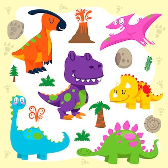 Симпатичные динозавры векторный набор