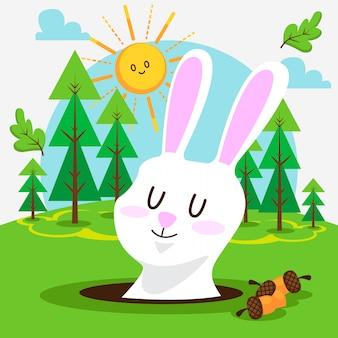 森の中のかわいいウサギ
